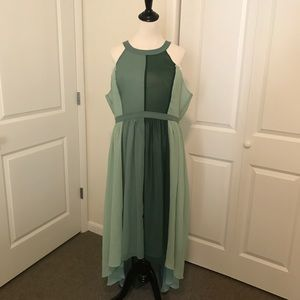 ModCloth green panel high/low dress